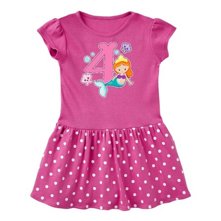 I am 4 years old Birthday with Mermaid Toddler Dress