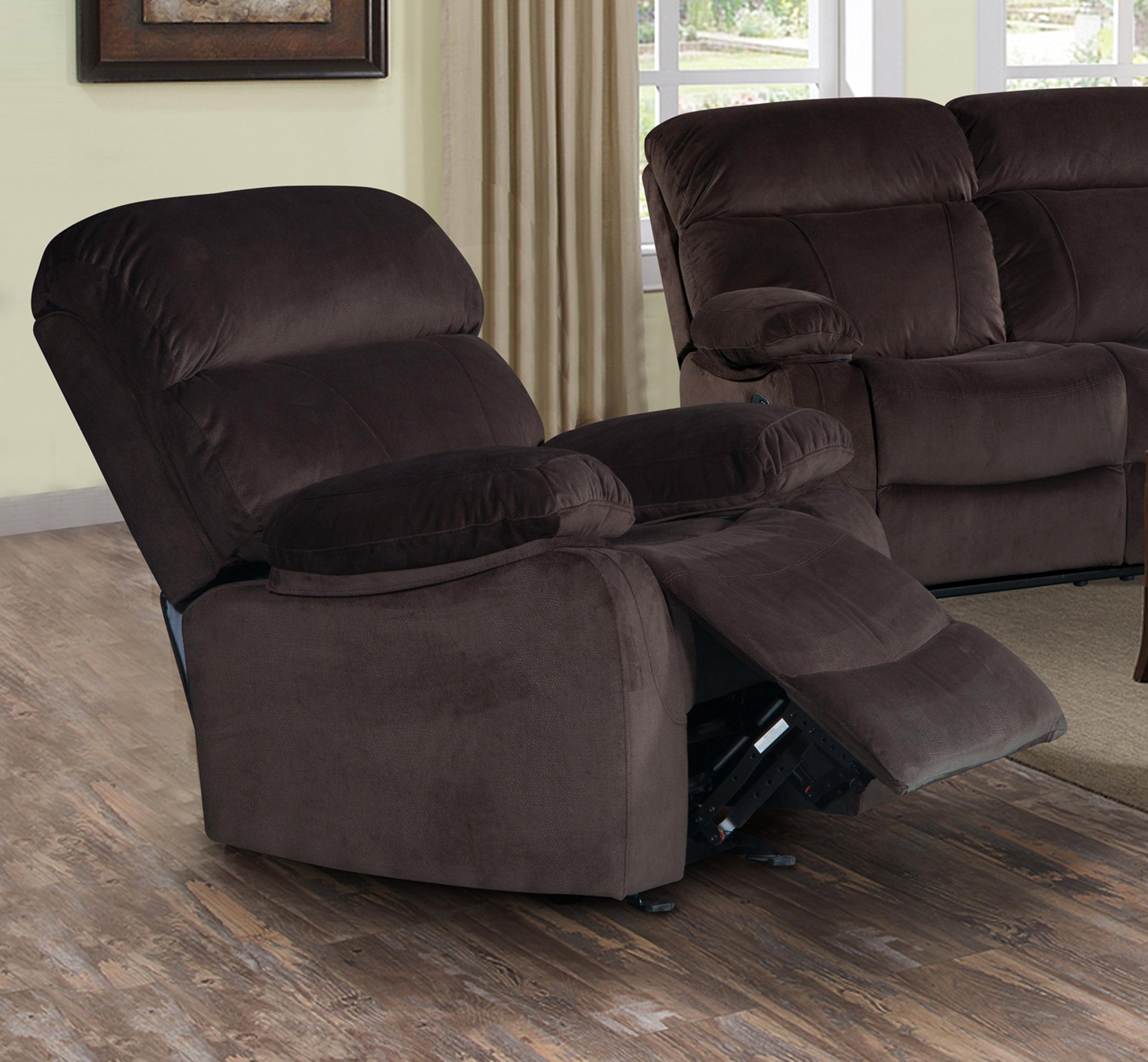 Izabella Dark Chocolate Corduroy Rocking Reclining Chair by Supplier Generic
