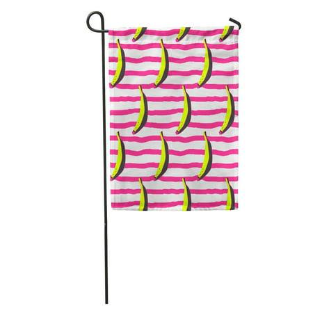 Bandana Pop - LADDKE Pink Warhol Doodle Bananas on Stripy Yellow Andy Pattern Pop Leaf Garden Flag Decorative Flag House Banner 12x18 inch