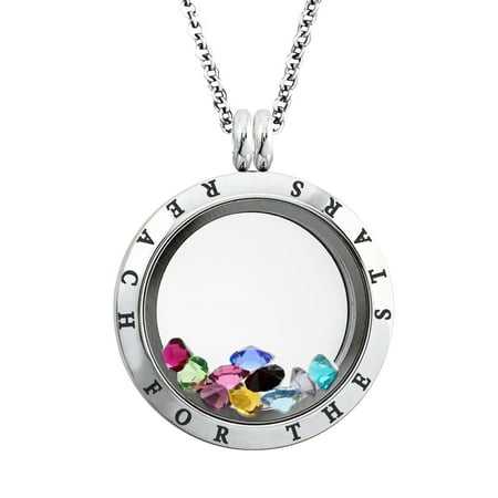 25 MM Stainless Steel Reach for the Stars Engraved Floating Glass Charm Locket Pendant Necklace - Floating Charm Locket Necklace