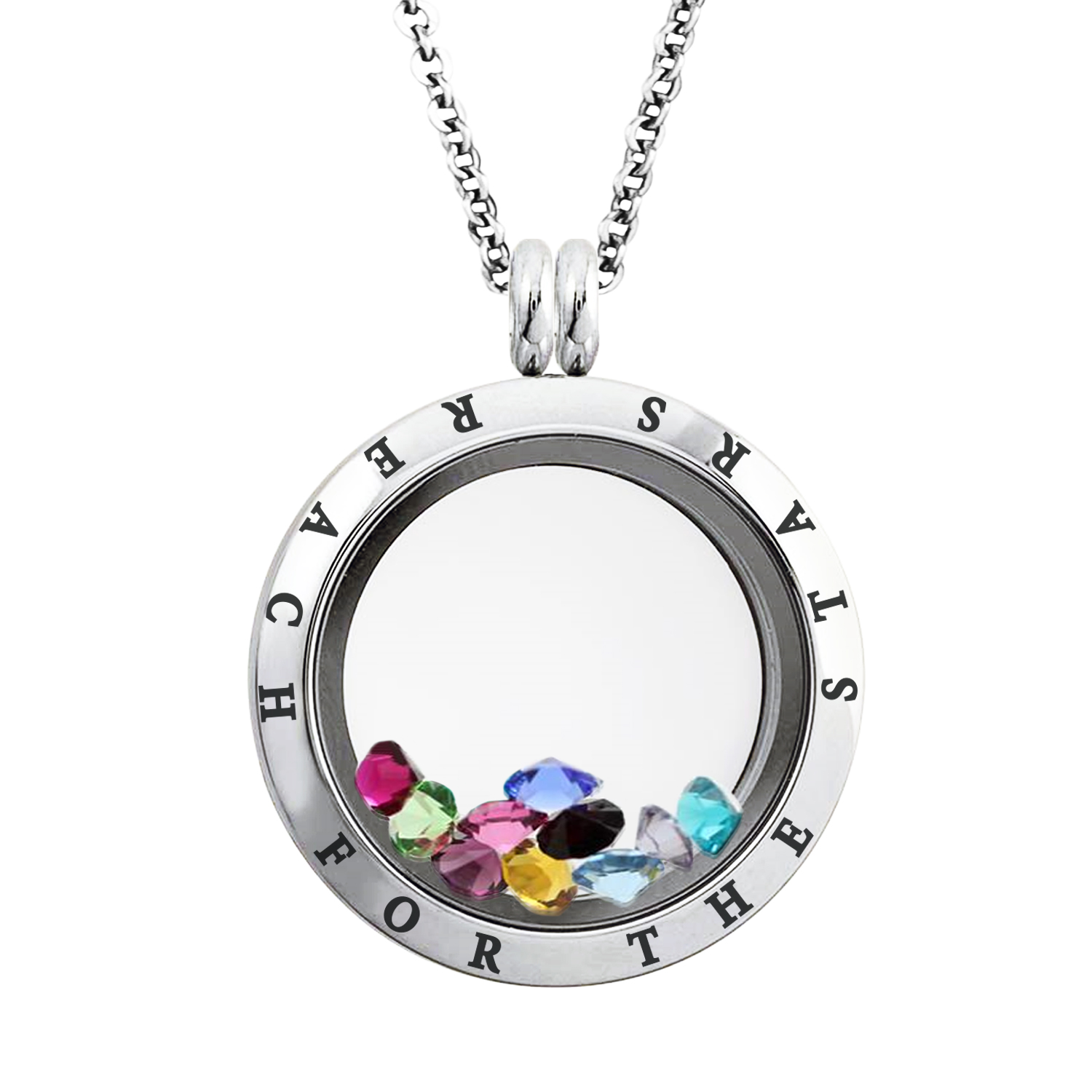 25 MM Stainless Steel Reach for the Stars Engraved Floating Glass Charm Locket Pendant Necklace