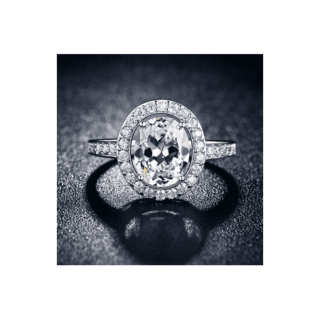 *SALE* FREE SHIPPING - The Admirable Oval Cut Halo Crystal Ring Platinum Plated (Crystal Cushion Cut Ring)