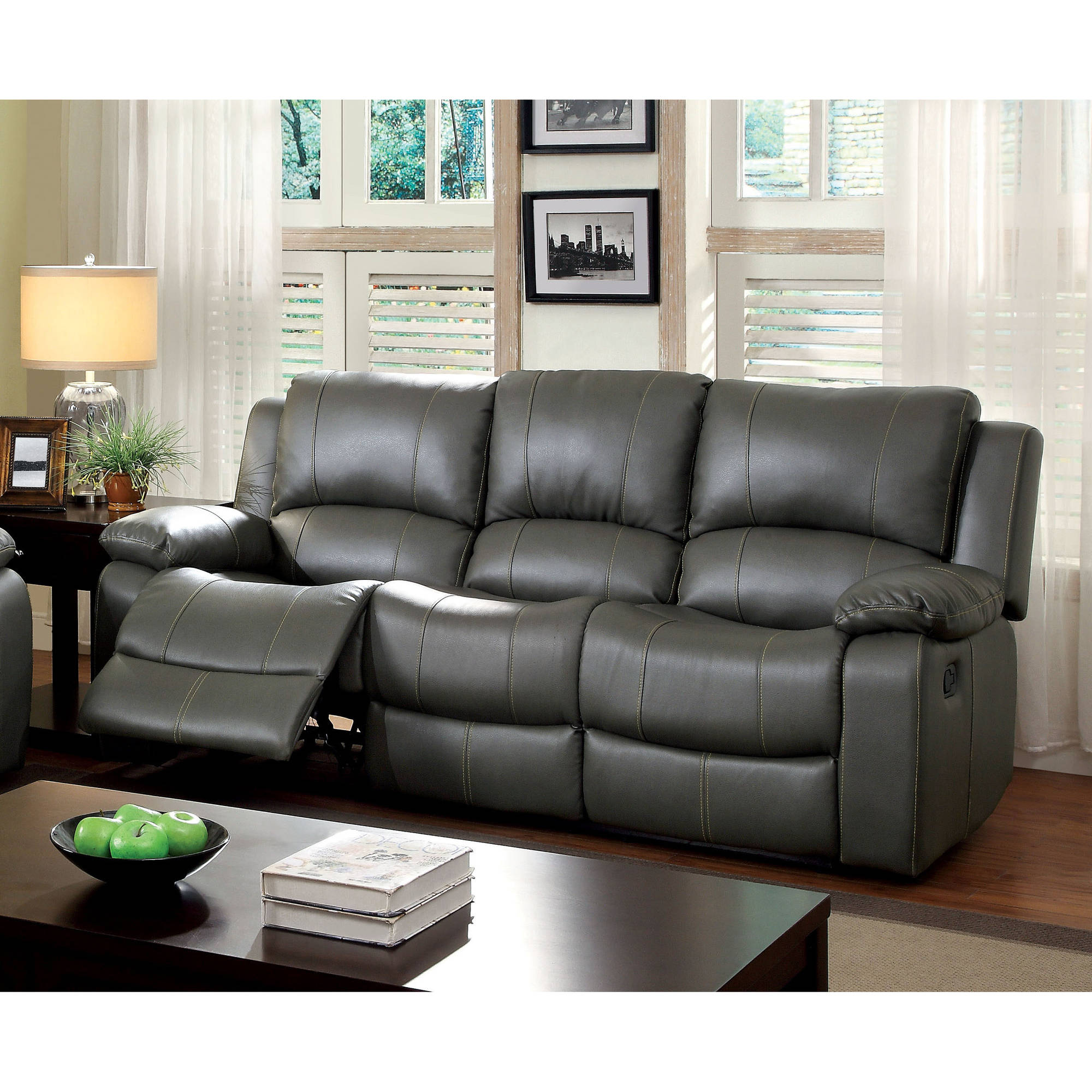 Furniture Of America Brentwood Leatherette Sofa Recliner, Gray