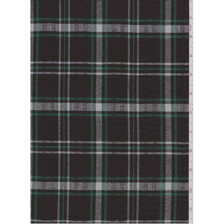 Brown/Green Windowpane Plaid Seersucker Shirting, Fabric By the Yard
