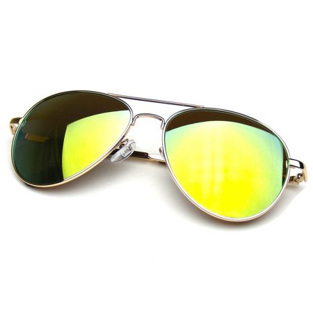 AVIATOR SUNGLASSES - GOLD FRAME WITH YELLOW FLASH MIRRORED LENSES - POLARIZED VINTAGE FASHION STYLE MIRRORED SHADES FOR WOMEN AND MEN