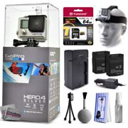 GoPro Hero 4 HERO4 Silver CHDHY-401 with 64GB Ultra Memory + Headstrap + Two Batteries + Travel Charger + Cleaning Kit