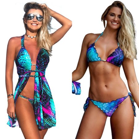 Womens Sexy Swimsuit Bikini Three -piece Set Top & Bottoms & Suntan-proof Wear Bathing Suit Swimwear Beachwear UV-protection Wear
