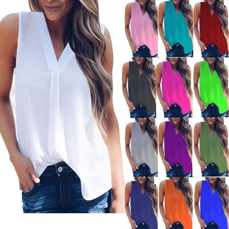 Women Summer Solid Color V-neck Chiffon Tops Sexy Sleeveless Pleated T-shirt Blouse