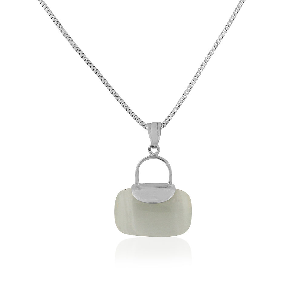EDFORCE Stainless Steel Silver-Tone White Simulated Gemstone Purse Pendant Necklace, 19""