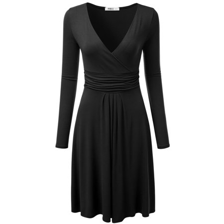 - Doublju Women's Long Sleeve V-Neck Crossover Banded-Waist Skater Dress BLACK S