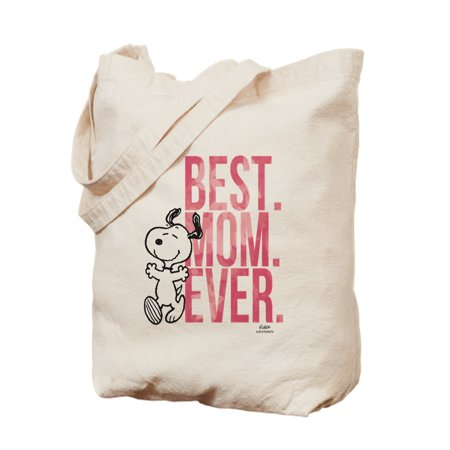 CafePress - Snoopy Best Mom Ever - Natural Canvas Tote Bag, Cloth Shopping