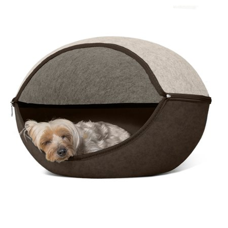 Furhaven Pet Cat Furniture Two Color Round Felt Bed For Cats Small Dogs Heather Brown Cream One Size