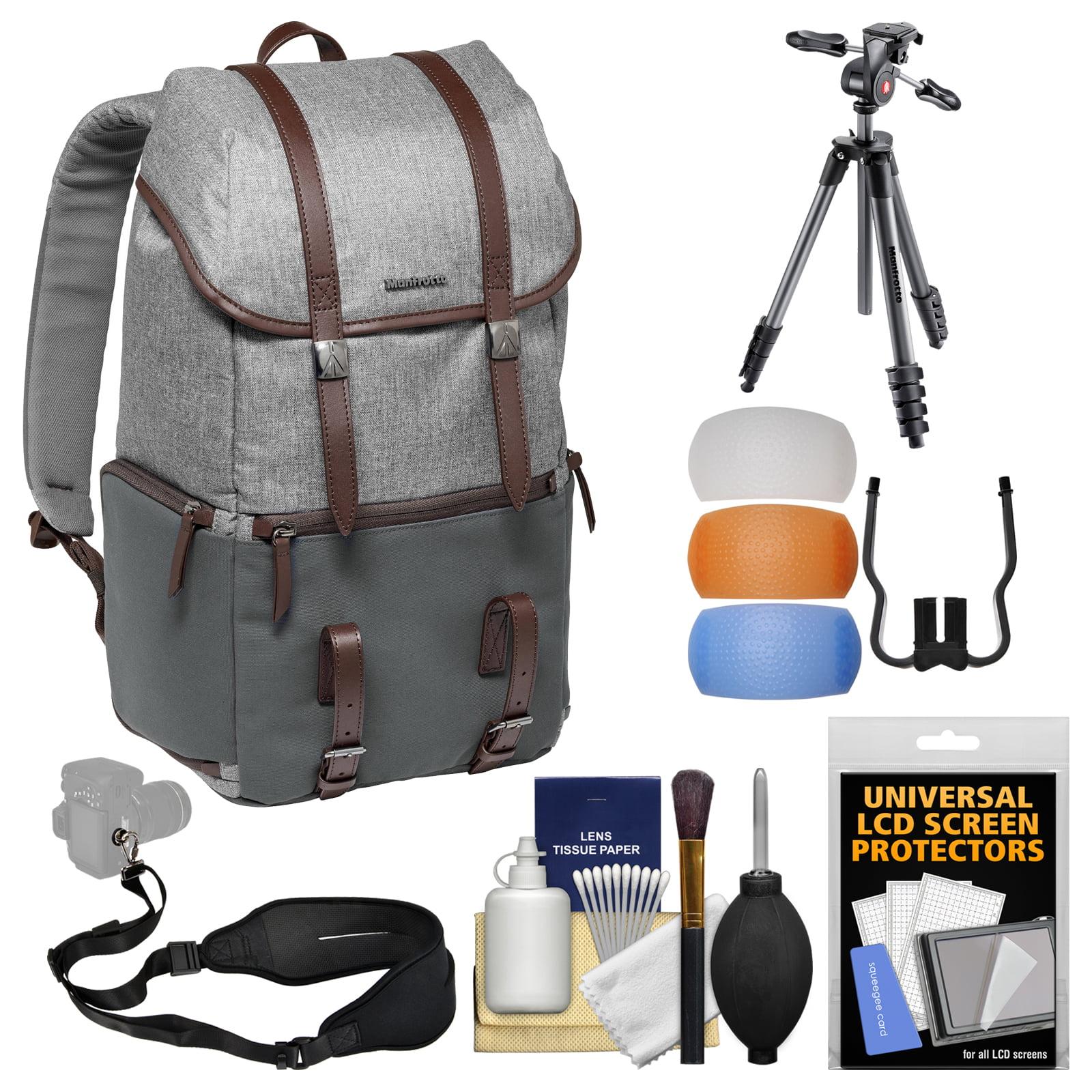 "Manfrotto Lifestyle Windsor Digital SLR Camera Backpack plus 65"" Compact Advanced Aluminum Tripod & Head, Case + Flash Diffuser + Kit"