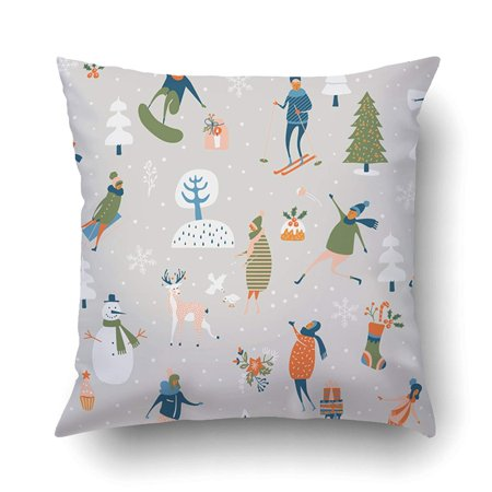 Snowflake Games (ARTJIA Xmas Christmas Pattern With Winter Games Snowman Trees Snowflakes Reindeer Kids And Adults Pillow Case Cushion Cover Case Throw Pillow Case 16x16)