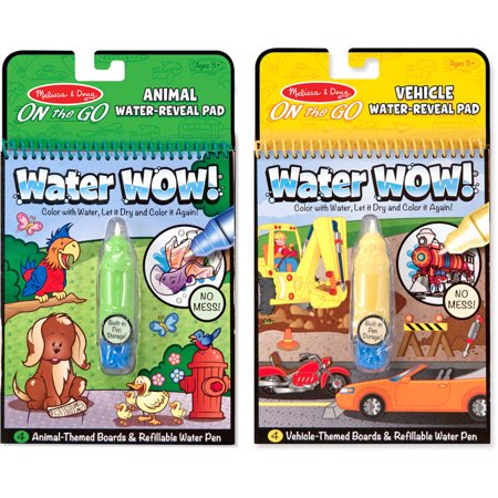 Melissa & Doug On the Go Water Wow! Water Reveal Pads, Set of 2: Vehicles and Animals - Water Wow Melissa And Doug
