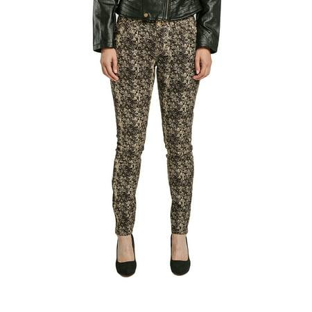 Miss Halladay Women's Black Stretch Twill MidRise Skinny Jeans Snake Skin Print ()