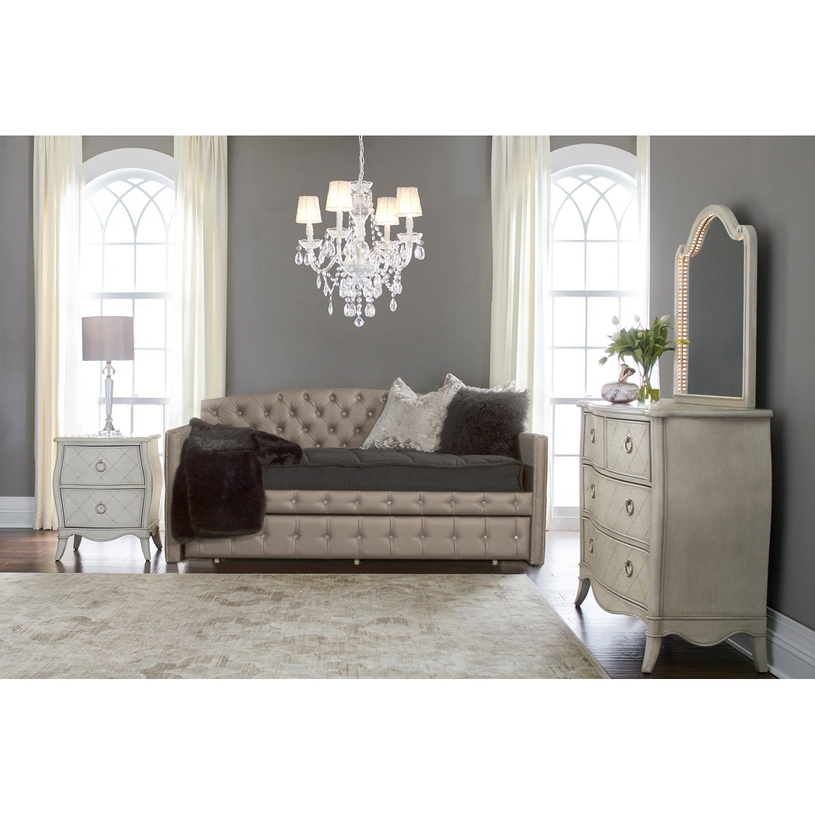 Memphis Upholstered Daybed with Trundle Twin Pewter - Hillsdale Furniture