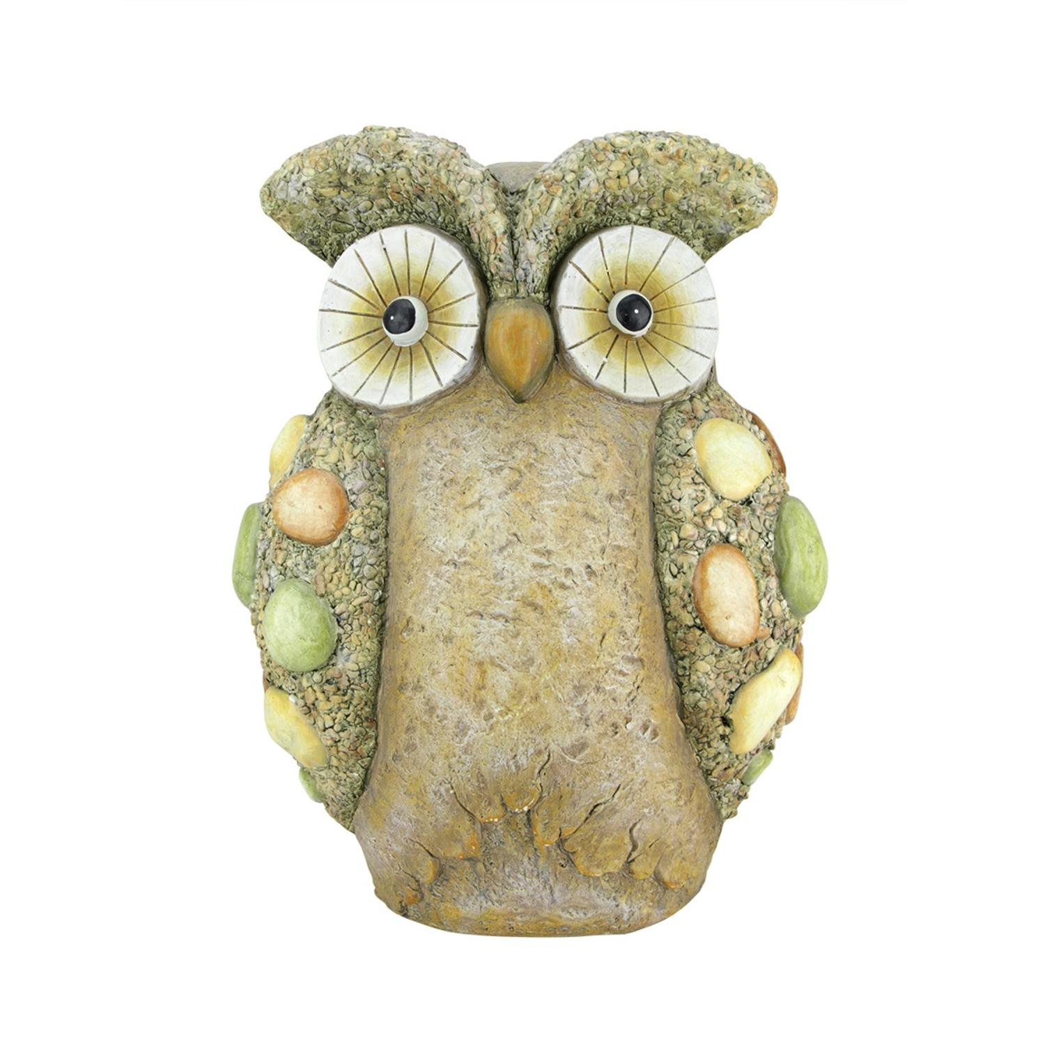 """17.25"""" Weathered Stone-Look Wise Owl Spring Outdoor Patio Garden Statue"""