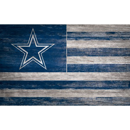 Dallas Cowboys 11'' x 19'' Distressed Flag Sign - No Size Dallas Cowboys Cabinet Style Wood