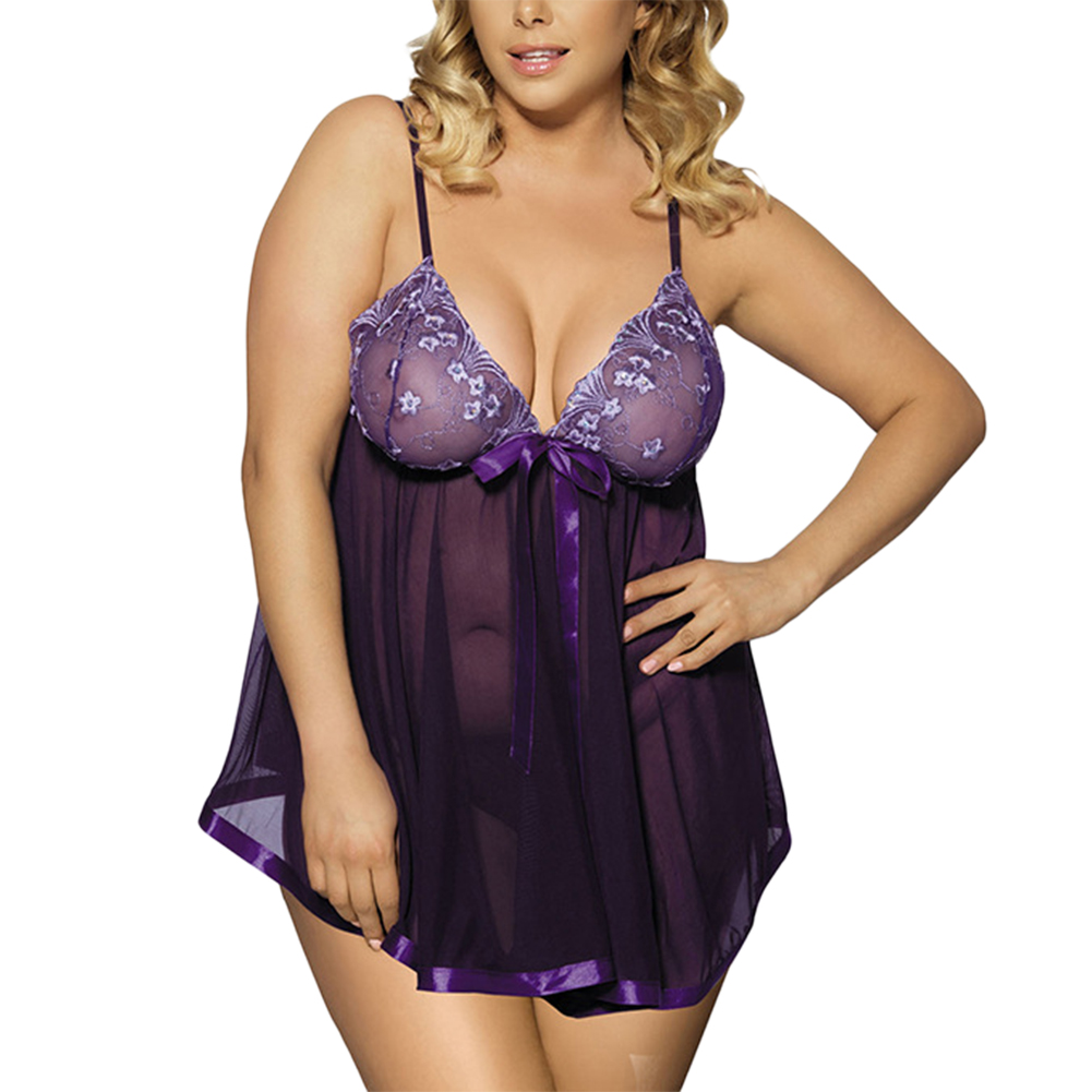 Women Plus Size Sequin Sexy Babydoll Lingeries