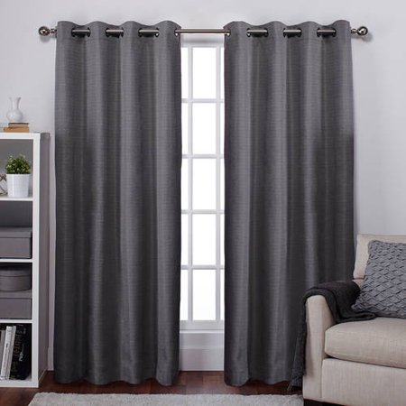 Exclusive Home Raw Silk Thermal Black Pearl Grommet Top 54 X 96 Inch Curtain Panel Pair