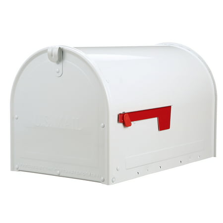 Gibraltar Mailboxes Marshall Locking Large Capacity Galvanized Steel White Post Mount Mailbox, MLM16KW1