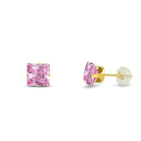 - 14K Yellow Gold 8x8mm Square Pink CZ Stud Earrings + Free Gift Box
