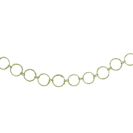 5' Christmas Brites Lime Green Glitter Round Circle Chain Christmas Garland