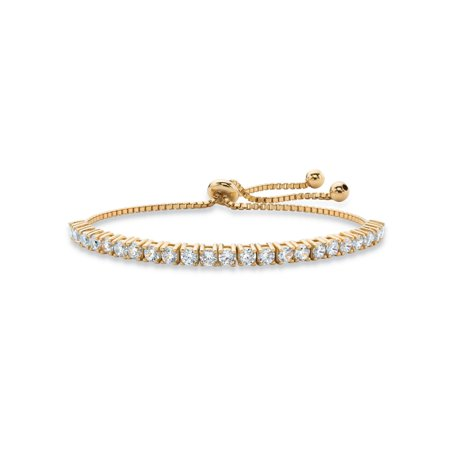 Alternating 14k Gold Bead (Round Birthstone Crystal Drawstring Bracelet in 14k Gold-Plated with Bead Acents 9.25