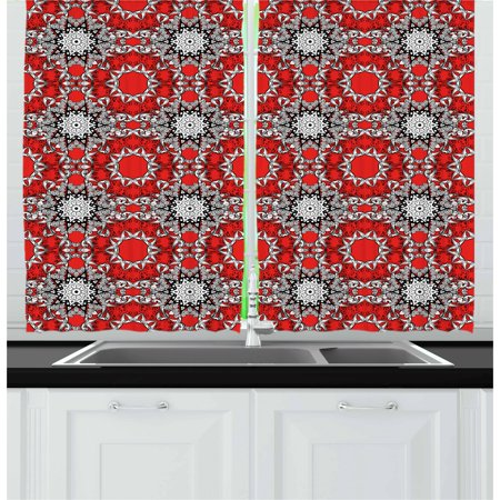 Red Mandala Curtains 2 Panels Set, Doodle Flowers Swirls Tribal Ethnic Kaleidoscope Ethnic Style, Window Drapes for Living Room Bedroom, 55W X 39L Inches, Red Black White and Grey, by Ambesonne