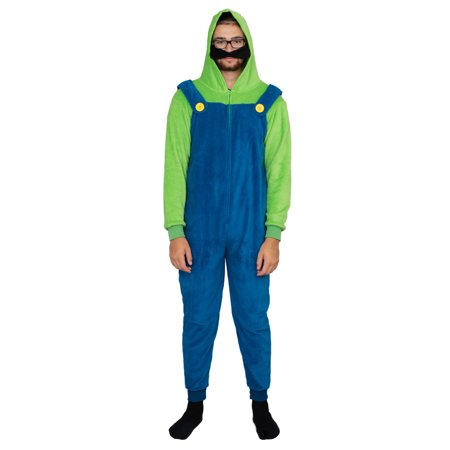 Adult Zip up Super Mario Brothers Luigi Green and Blue Costume Jumpsuit