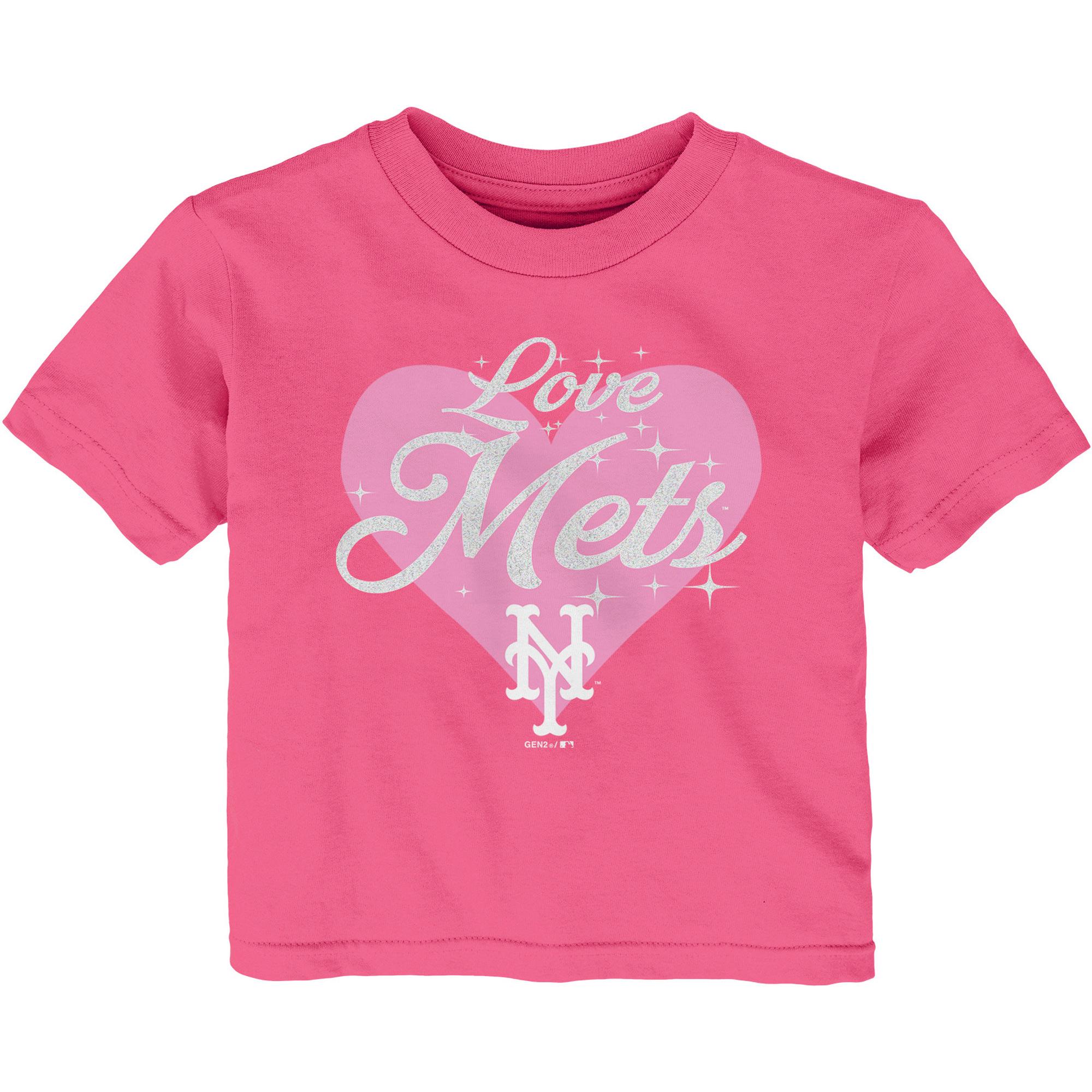 New York Mets Girls Infant Heart Stars T-Shirt - Pink