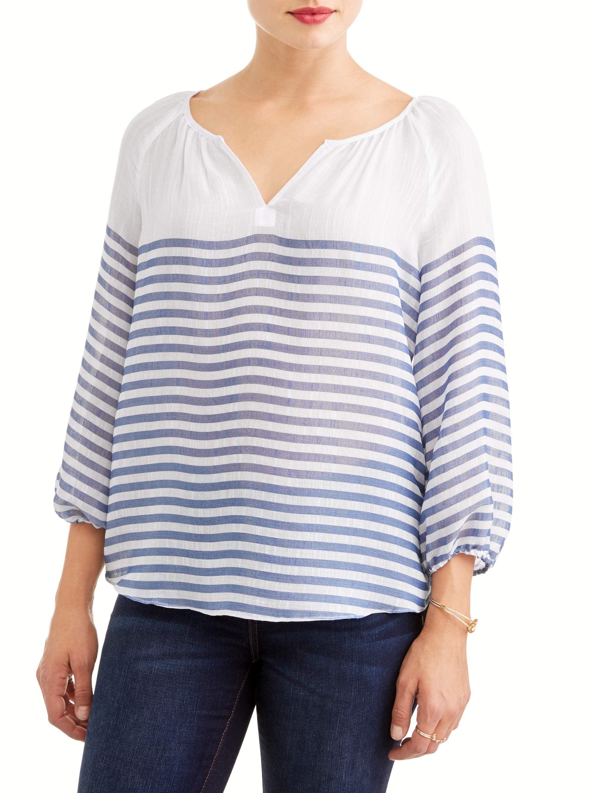 Women's Stripe Notch Neck Top