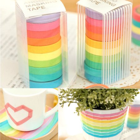 Adhesive Magnet Tape - 10Pcs Paper Tapes Washi Tape Colorful Scrapbook Decorative Paper Adhesive Sticker DIY Today's Special Offer!