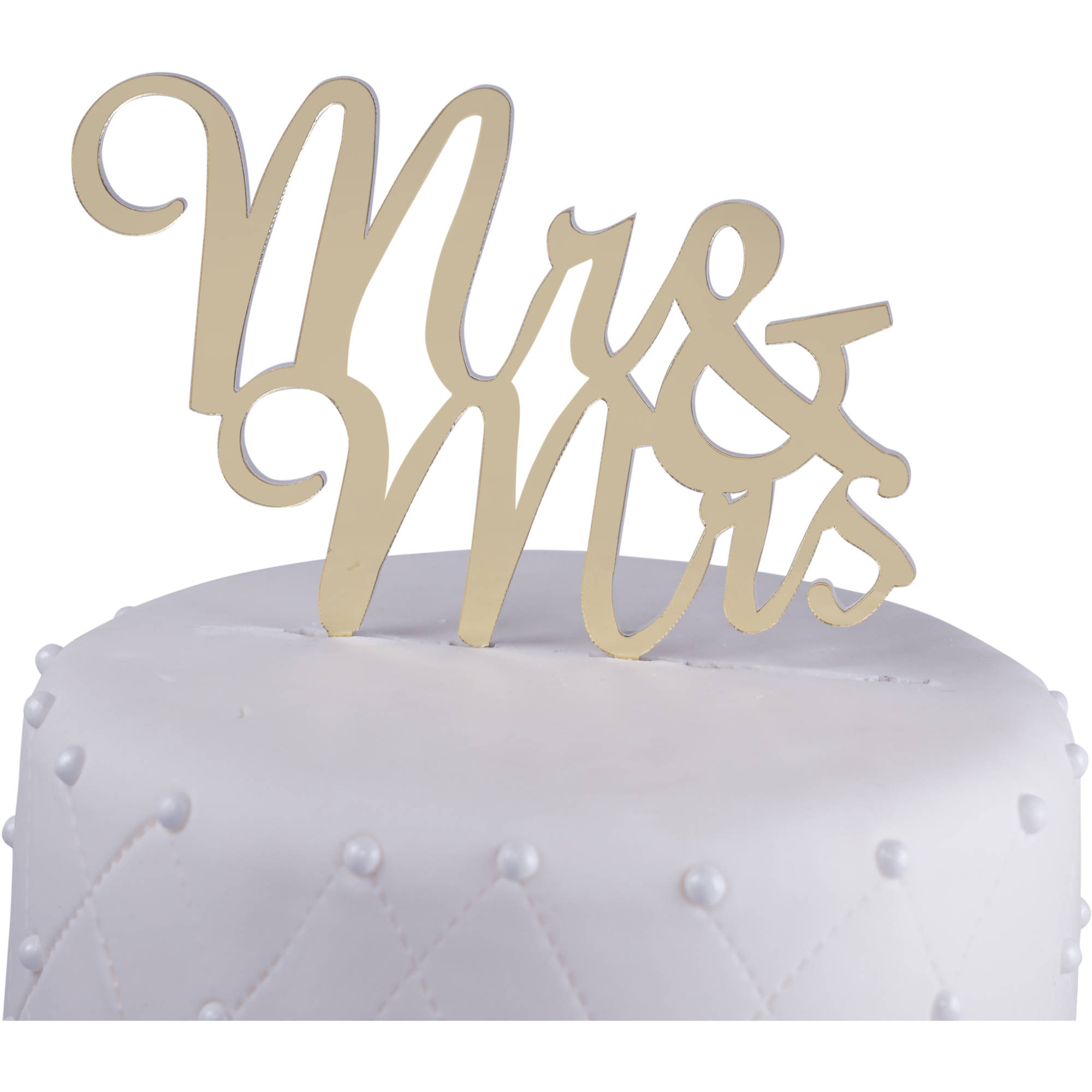 "Unik Occasions ""Mr. and Mrs."" Acrylic Wedding Cake Topper Script, Gold Mirror"