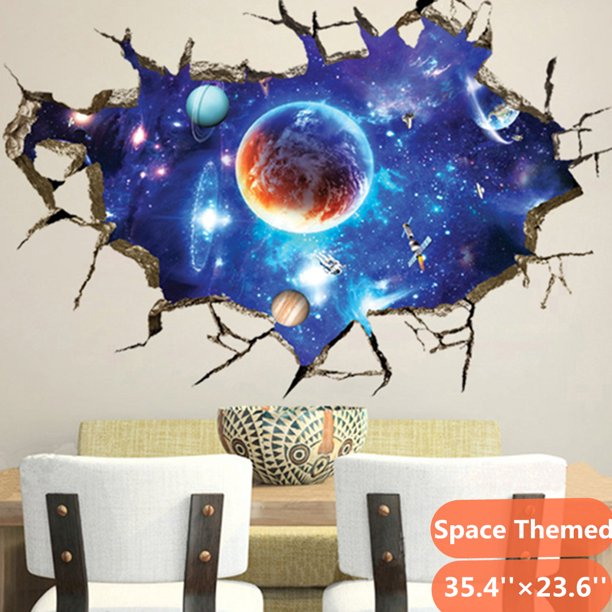 Outer Space Themed 3d Floor Wall Sticker Children Kids Bedroom Living Room Wall Decals Sticker Home Decoration Removable Walmart Com Walmart Com
