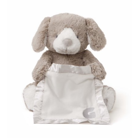 "G By GUND Grey Peek A Boo Animated 10"" Plush Pup"