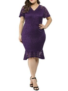 Women's Plus Size V Neck Fishtail Lace Cocktail Dress Blue