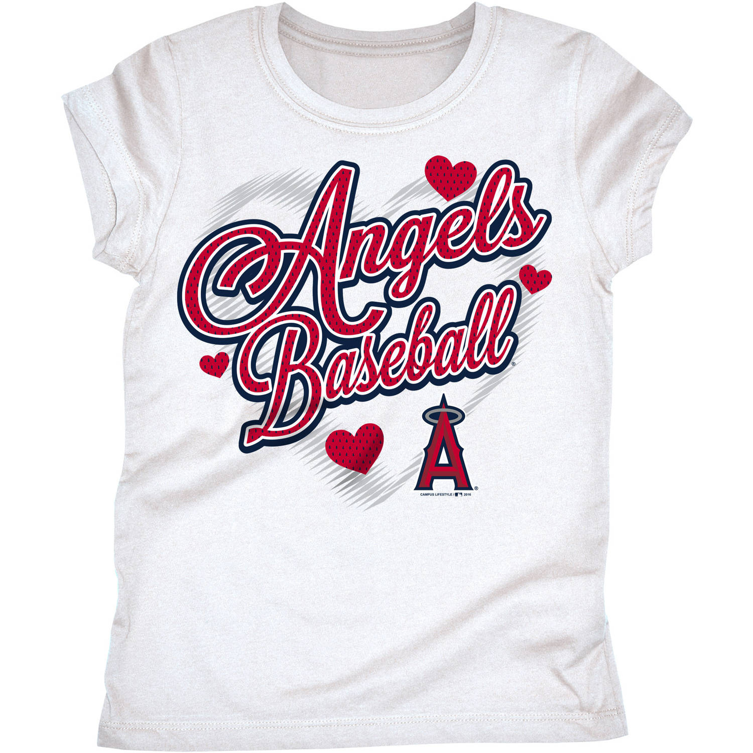 MLB Los Angeles Angels Girls Short Sleeve White Graphic Tee