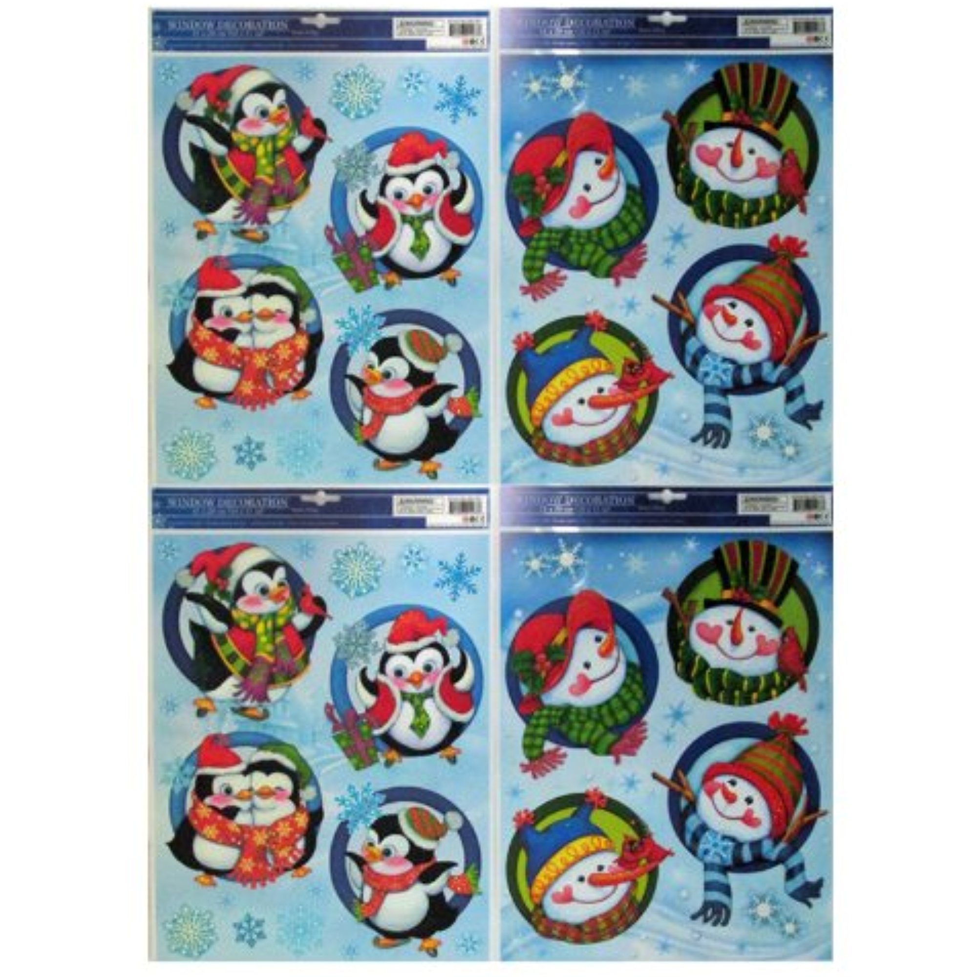 "Christmas Snowman/Penguin Window Cling 16"" x 11"" Sheet - (40) Individual Clings on Four Sheets"