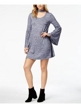 KENSIE Womens Purple Heather Bell Sleeve Scoop Neck Above The Knee Shift Dress  Size: S
