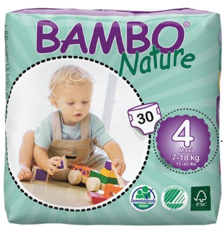 Bambo Nature Baby Diaper  Size 4 Disposable Heavy Absorbency 8 Packs of 30