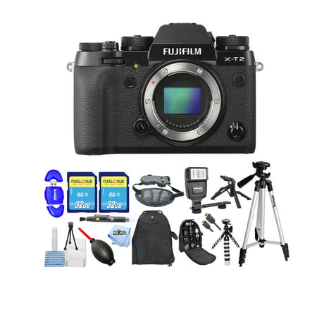 Fujifilm X-T2 Mirrorless Digital Camera (Body Only) + 64GB Memory Card MEGA BUNDLE