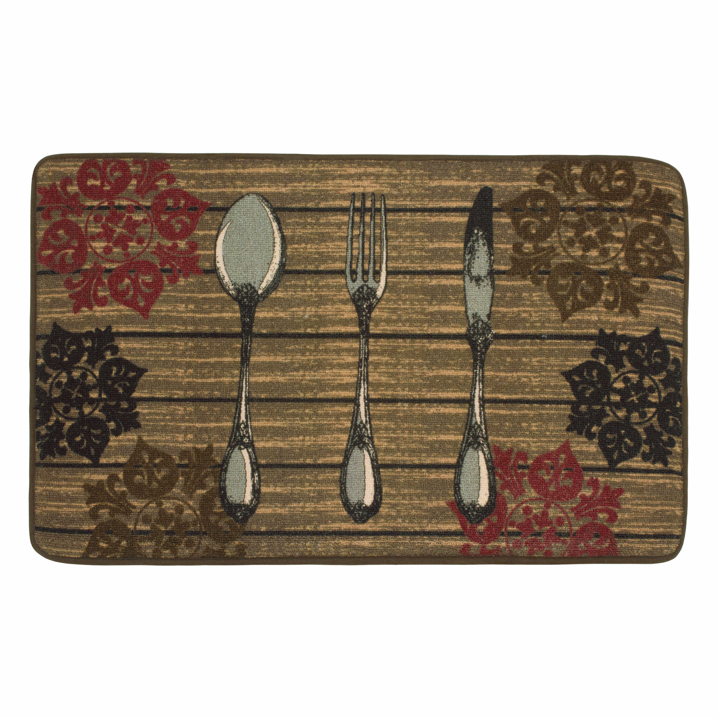 Chef Gear HD Printed 20 x 32 in. Rustic Utensils Kitchen Rug, Chocolate