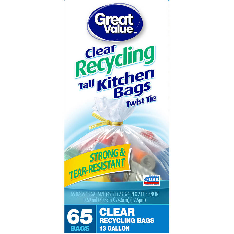 Great Value Twist Tie Clear Recycling Bags, 13 gallon, 65 count