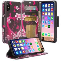 Apple iPhone Xs Max Case, Leather Wallet Case Cute Girls Women Kickstand for iPhone Xs Max 2018 Phone Case - Rainbow Flower