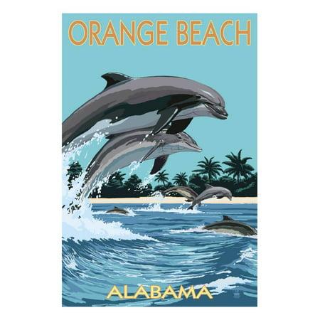 Dolphin Art - Orange Beach, Alabama - Dolphins Jumping Print Wall Art By Lantern Press