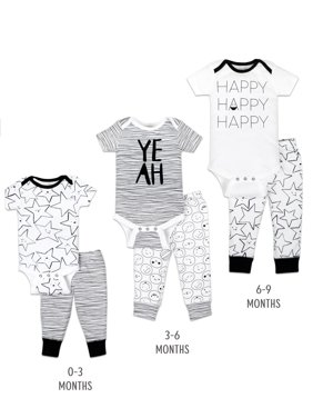 Little Star Organic Grow with Me Bodysuit & Pants Baby Shower Gift Set, 6pc (Baby Boy or Girl, Unisex)