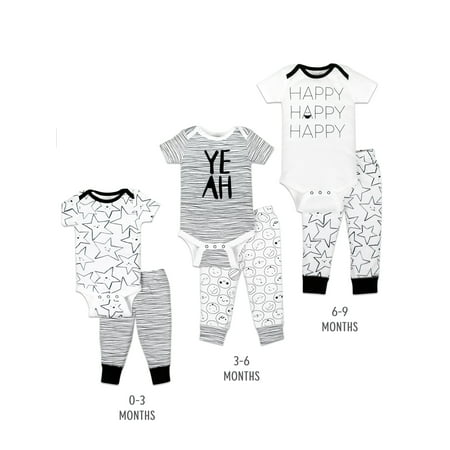 Little Star Organic Grow with Me Bodysuit & Pants Baby Shower Gift Set, 6pc (Baby Boy or Girl, Unisex) ()