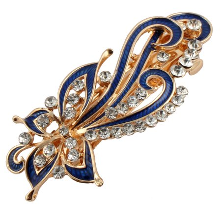 Women Metal Flower Decor Hairstyle French Hair Clip Barrette Blue - 1950 Women's Hairstyles